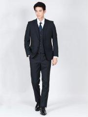 光沢ストレッチ スリムフィット2ボタン3ピーススーツ 組織紺