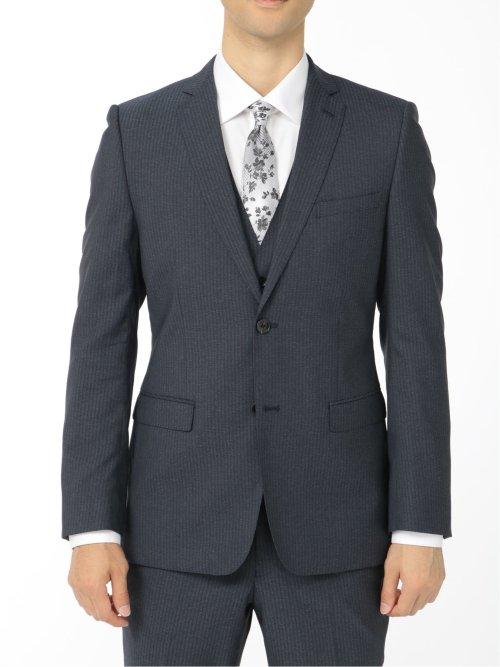 光沢ストレッチ スリムフィット2ボタン3ピーススーツ ヘリンボン 紺