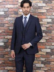 光沢スリムフィット3ピーススーツ ジャガードウィンドペン黒