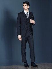 光沢スリムフィット3ピーススーツ シャドーストライプ黒