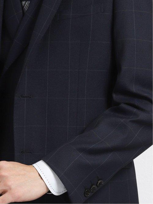光沢スリムフィット3ピーススーツ 千鳥格子 紺