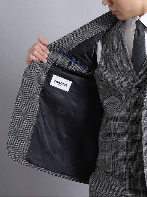 チェルッティ/CERRUTI アイ トラベル 2ボタン3ピーススーツ グレンチェック グレー