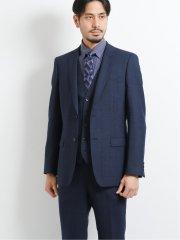 ウール混スリムフィット2ボタン3ピーススーツ ウィンドペン紺