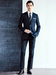 【WEB限定】光沢スリムフィット2パンツスーツ シャドーストライプ紺
