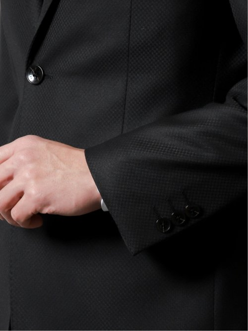 光沢ストレッチ スリムフィット2ボタン2ピーススーツ ジオメトリック 黒