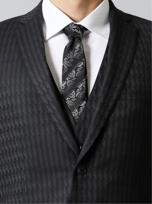 光沢ストレッチ スリムフィット2ボタン3ピーススーツ 変形チェック 紺