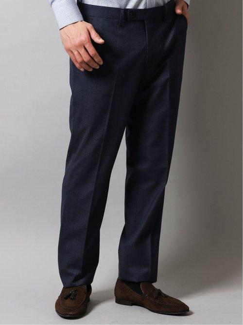 光沢ストレッチ スリムフィット2ボタン コーディネート2パンツスーツ オーバーペン 紺