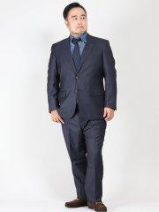 【大きいサイズ】レノマ パリス/renoma PARIS 光沢ジャガード2ボタン2ピーススーツ 紺