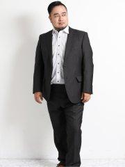 【大きいサイズ】レノマ パリス/renoma PARIS 光沢ジャガード2ボタン2ピーススーツ チャコール