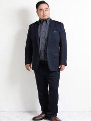 【大きいサイズ】レノマ パリス/renoma PARIS ニットジャガード2ボタン2ピーススーツ 紺
