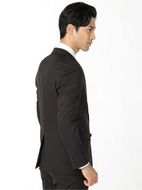 ストレッチウォッシャブル 組織柄スリムフィット2ピーススーツ 黒