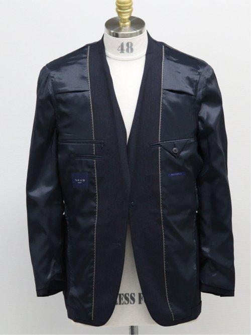 ストレッチウォッシャブル スリムフィット2ボタン2ピーススーツ ヘアライン紺