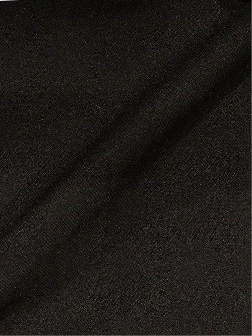 ストレッチウォッシャブル スリムフィット2ボタン2ピーススーツ ヘリンボン黒