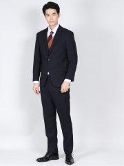 ストレッチウォッシャブル レギュラーフィット2ボタン2パンツスーツ ウィンドペン紺