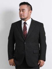 【大きいサイズ】グランバック/GRAND-BACK ジャガード柄2ボタン2ピーススーツ チャコールグレー