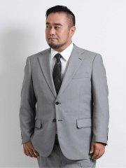【大きいサイズ】グランバック/GRAND-BACK ダイヤゴナル柄2ボタン2ピーススーツ ライトグレー