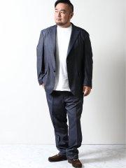 【大きいサイズ】グランバック/GRAND-BACK モルビドデニム 2ボタン2ピーススーツ 青