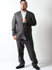 【大きいサイズ】グランバック/GRAND-BACK モルビドデニム 2ボタン2ピーススーツ チャコール