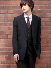 シェラック/SHELLAC ウール スリムフィット2釦3ピーススーツ 黒