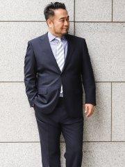 【大きいサイズ】グランバック/GRAND-BACK 洗えるスラックス ストライプ紺 2ピーススーツ