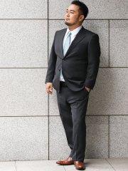 【大きいサイズ】グランバック/GRAND-BACK 洗えるスラックス ピンチェックグレー 2ピーススーツ