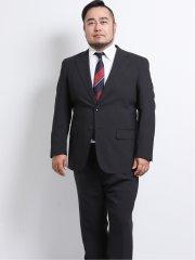 【大きいサイズ】グランバック/GRAND-BACK トラベスト/TRABEST 2釦2パンツスーツ 黒シャドーストライプ