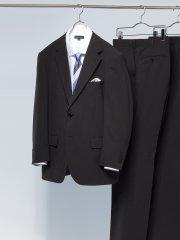 【大きいサイズ】グランバック/GRAND-BACK トラベスト/TRABEST シャドーストライプ黒 2パンツスーツ