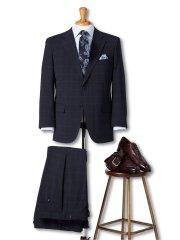 【大きいサイズ】グランバック/GRAND-BACK トラベスト/TRABEST 2釦2パンツスーツ 紺ウィンドペン