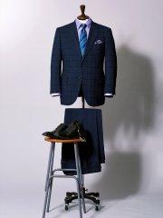 【大きいサイズ】グランバック/GRAND-BACK トラベスト チェック紺ノータック2パンツスーツ