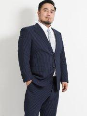 【大きいサイズ】グランバック/GRAND-BACK トラベスト/TRABEST ストライプ青 2パンツスーツ