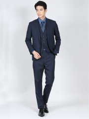 ウール混ストレッチ スリムフィット2ボタン3ピーススーツ 組織紺