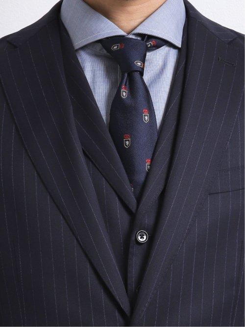 ウール100% SUPER140'S レギュラーフィット2釦2ピーススーツ 紺ストライプ