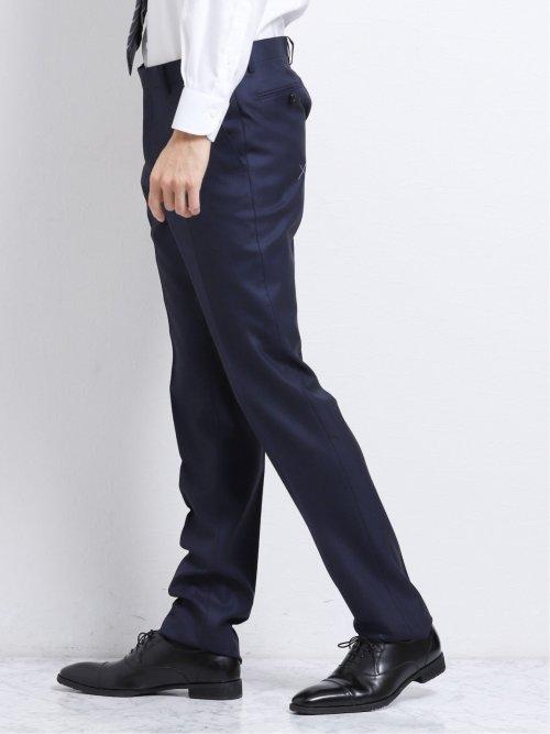 ウール100% SUPER140'S レギュラーフィット2釦2ピーススーツ 青バーズアイ