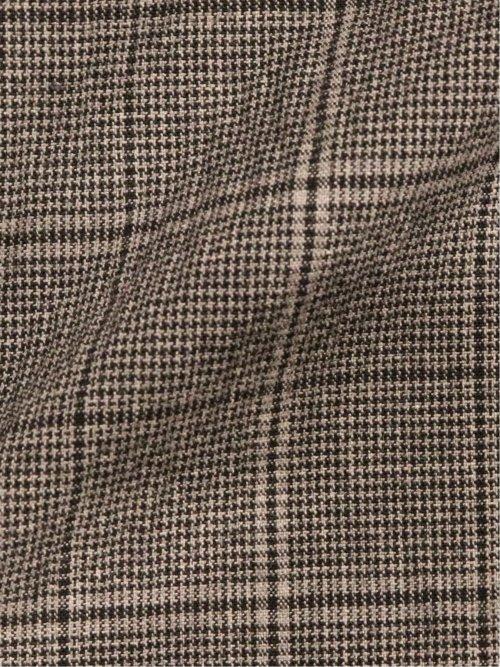 ソンドリオ/SONDRIO 綿ストレッチ スリムフィット2釦2ピーススーツ グレーチェック