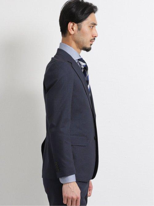 ソンドリオ/SONDRIO 綿ストレッチ スリムフィット2釦2ピーススーツ 紺バーズアイ