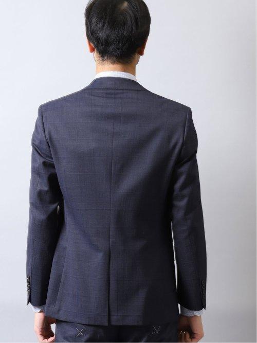 光沢ストレッチ スリムフィット2ボタン3ピーススーツ ウィンドペン 紺