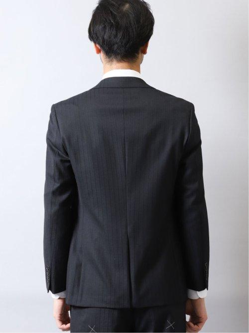 光沢ストレッチ スリムフィット2ボタン3ピーススーツ ストライプ 紺