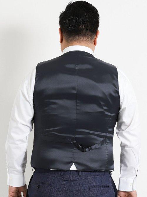 【大きいサイズ】アレキサンダージュリアン/ALEXANDER JULIAN ジニョーネ/ZIGNONE チェック紺 3ピーススーツ