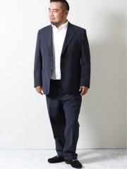 【大きいサイズ】アレキサンダージュリアン/ALEXANDER JULIAN ITALY サッカーストライプ柄 2ボタン2ピーススーツ 紺