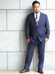 【春夏】【大きいサイズ】アレキサンダージュリアン/ALEXANDER JULIAN CANONICO ウィンドペン紺2ピース