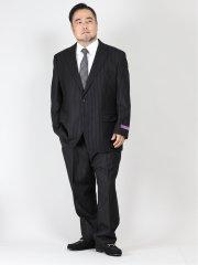 【大きいサイズ】アレキサンダージュリアン/ALEXANDER JULIAN フィンテス/FINTES ウール2ピーススーツ ストライプ黒