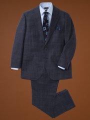 【大きいサイズ】アレキサンダージュリアン/ALEXANDER JULIAN マルゾット/MARZOTTO  ウール2ピーススーツ ウィンドペン紺