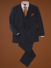 【大きいサイズ】アレキサンダージュリアン/ALEXANDER JULIAN マルゾット/MARZOTTO  ウール混3ピーススーツ グレンチェック紺