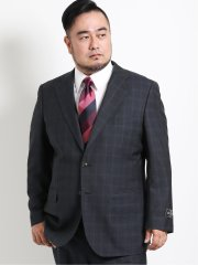 【大きいサイズ】アレキサンダージュリアン/ALEXANDER JULIAN UKウール シャドーチェック柄2ボタン2ピーススーツ チャコール