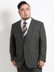 【大きいサイズ】アレキサンダージュリアン/ALEXANDER JULIAN UKウール ストライプ柄2ボタン2ピーススーツ チャコール