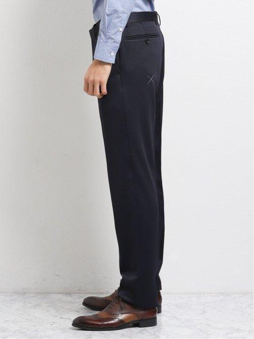 ストレッチニット スリムフィット2釦2ピーススーツ ウィンドペン紺