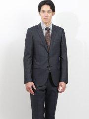 ストレッチ光沢ウール混 スリムフィット2ピーススーツ ウィンドペン紺