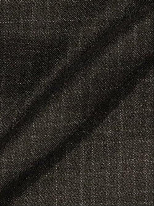 光沢ストレッチ スリムフィット2ボタン2ピーススーツ チェック 黒