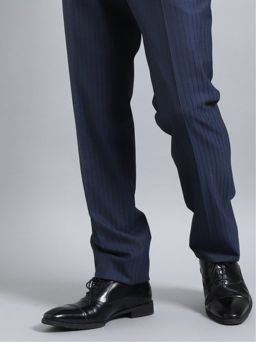 光沢ストレッチ スリムフィット2ボタン2ピーススーツ ストライプ 紺