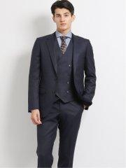 ストレッチ光沢ウール混 スリムフィット2釦3ピーススーツ チェック紺